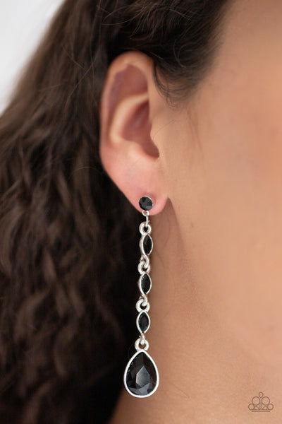Paparazzi Must Love Diamonds - Black Rhinestones Earrings - A Finishing Touch