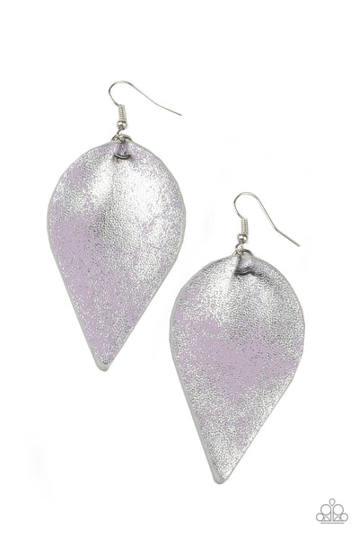 Paparazzi Enchanted Shimmer - Purple Leather Earrings - A Finishing Touch