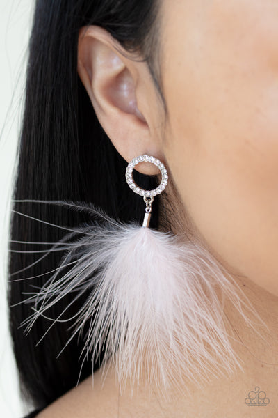 Paparazzi BOA Down - White Feather Earrings - A Finishing Touch