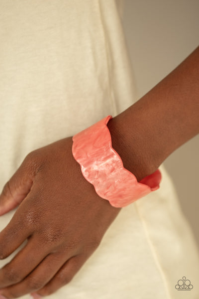 Paparazzi Retro Ruffle - Orange Acrylic Cuff Bracelet