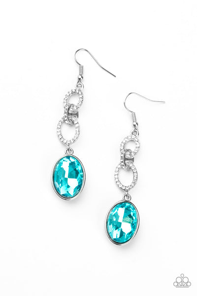 Paparazzi Extra Ice Queen - Blue Gem Earrings