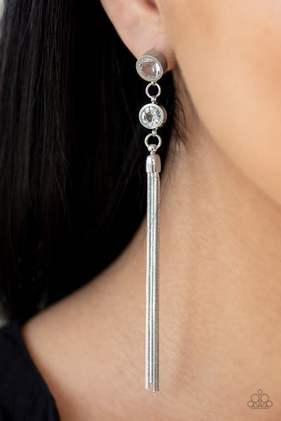 Paparazzi Tassel Twinkle - White Rhinestone Earrings - A Finishing Touch