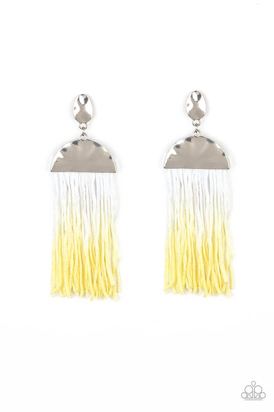 Paparazzi Rope Them In - Yellow Tassel Earrings - A Finishing Touch
