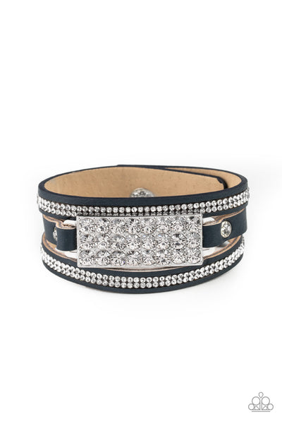 Paparazzi Shockingly Sparkly - Blue Leather Bracelet - A Finishing Touch