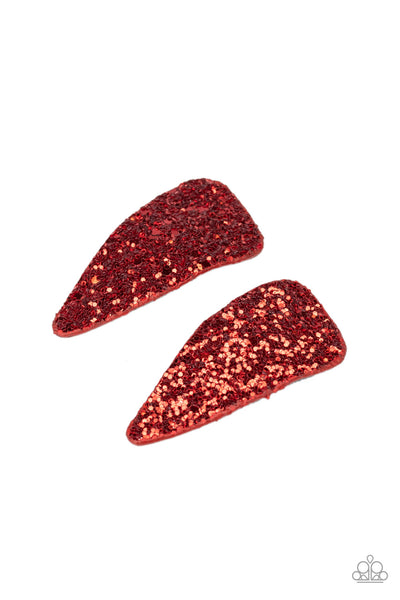 Paparazzi Squad Shimmer - Red Sequins Barrettes - A Finishing Touch