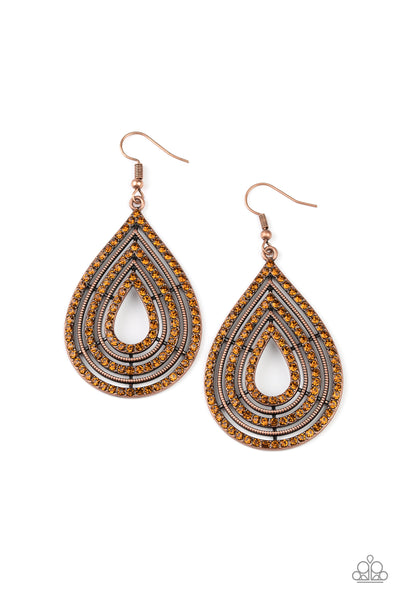 Paparazzi 5th Avenue Attraction -  Copper Rhinestone Earrings - A Finishing Touch