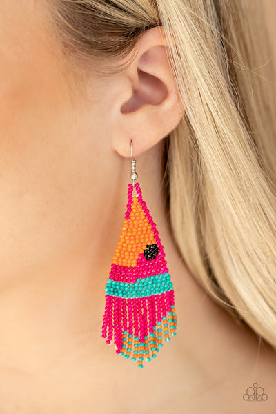 Paparazzi   Brightly Beaded - Pink Earrings
