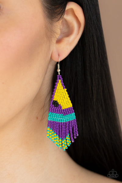 Paparazzi   Brightly Beaded - Purple Earrings - A Finishing Touch