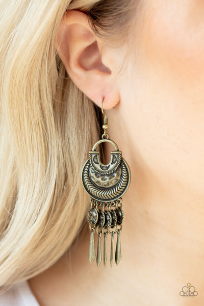 Paparazzi Give Me Liberty - Brass Earrings - A Finishing Touch