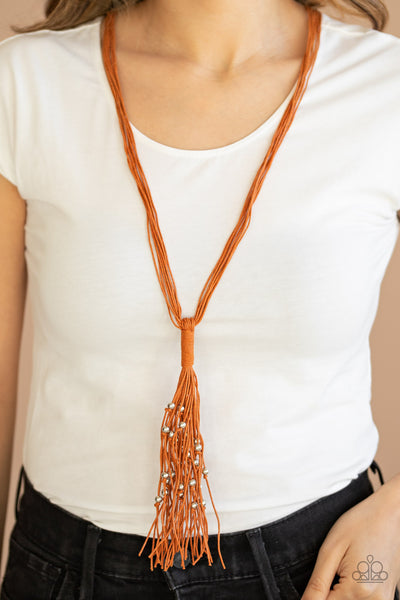 Paparazzi Hand-Knotted Knockout - Orange Tassel Necklace - A Finishing Touch