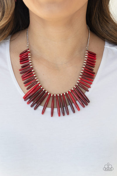 Paparazzi Out of My Element - Red Acrylic Necklace - A Finishing Touch
