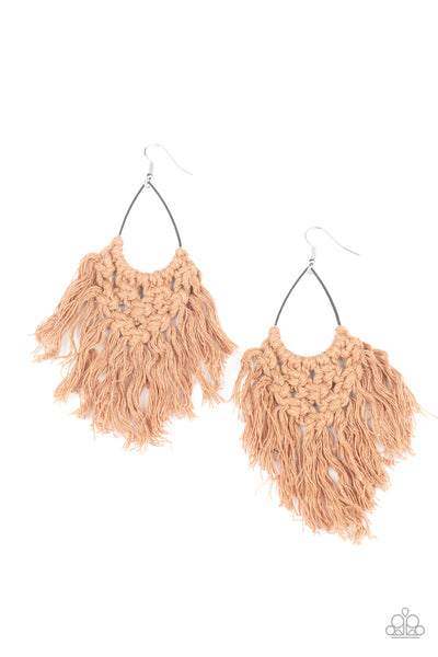 Paparazzi Oh MACRAME, Oh My - Brown Fringe Earrings - A Finishing Touch