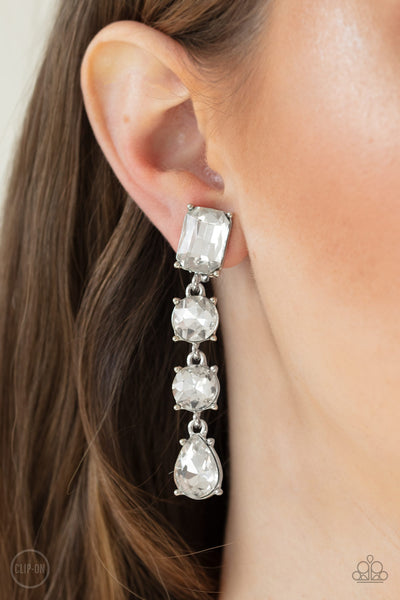 Paparazzi Make A-LIST - White Clip-On Earrings - A Finishing Touch