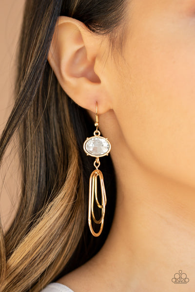 Paparazzi Drop-Dead Glamorous - Gold Earrings - A Finishing Touch