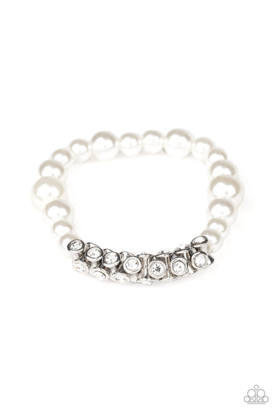 Paparazzi Traffic-Stopping Sparkle - White Bracelet - A Finishing Touch