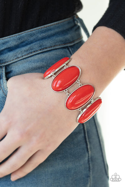 Paparazzi: Power Pop - Red Bracelet - A Finishing Touch