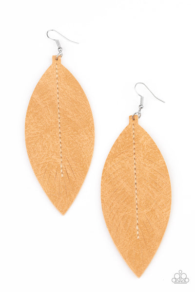 Paparazzi Naturally Beautiful - Brown Leather Earrings - A Finishing Touch