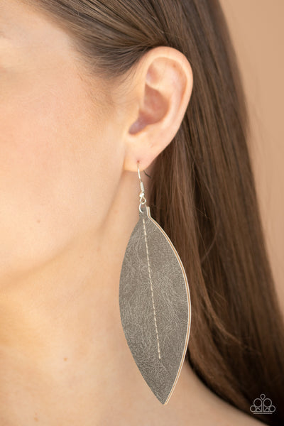 Paparazzi Naturally Beautiful - Silver Leather Earrings - A Finishing Touch