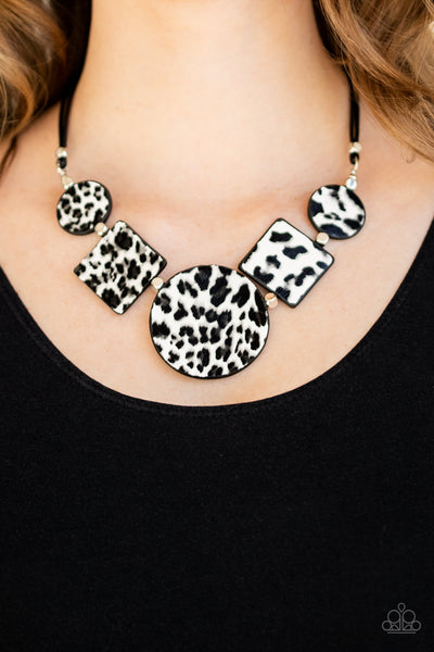 Paparazzi Here Kitty Kitty - White Cheetah Print Necklace - A Finishing Touch