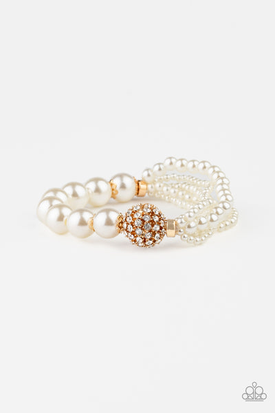 Paparazzi Vintage Collision - Gold Pearl Bracelet - A Finishing Touch