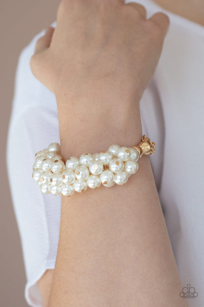 Paparazzi Up Class Clash - Gold Pearl Bracelet