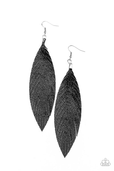 Paparazzi Feather Fantasy - Black Earrings - A Finishing Touch