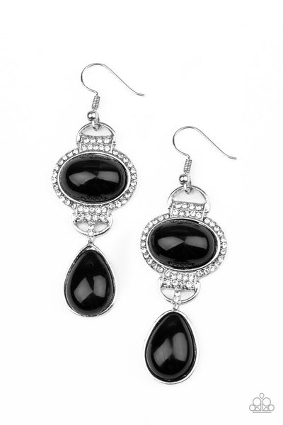 Paparazzi   Icy Shimmer - Black Earrings - A Finishing Touch