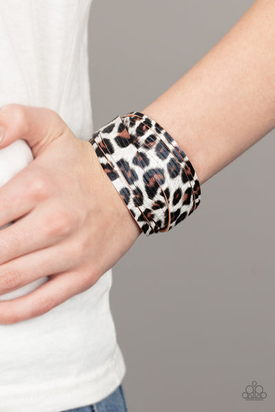 Paparazzi Hey GRRirl - White Cheetah Print Bracelet - A Finishing Touch