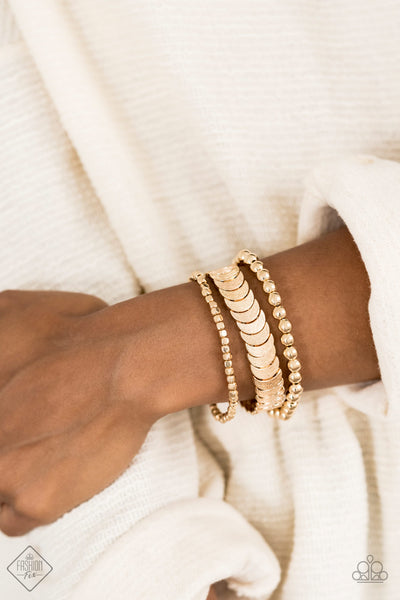 Paparazzi LAYER It On Me - Gold July's Fashion Fix Bracelet - A Finishing Touch