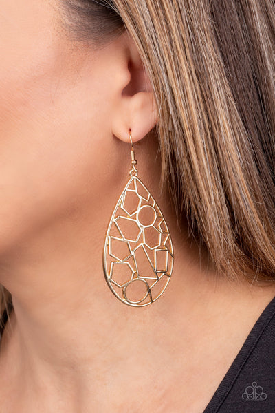 Paparazzi Reshaped Radiance - Gold Earrings - A Finishing Touch