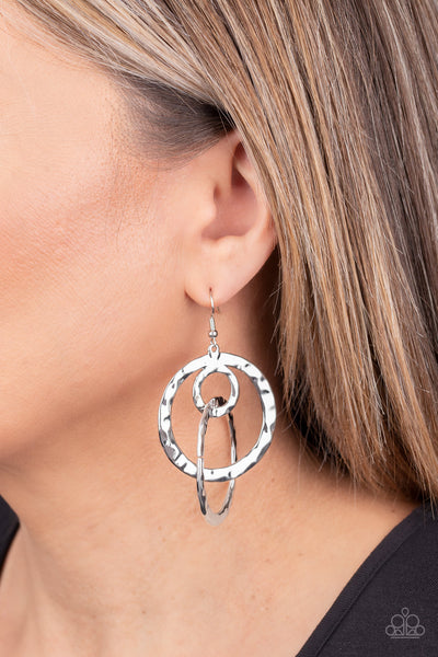 Paparazzi Modern Relic - Silver Earrings - A Finishing Touch