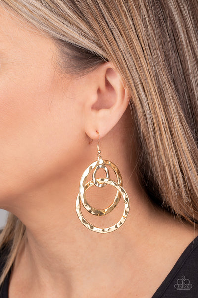 Paparazzi Modern Relic - Gold Hoop Earrings - A Finishing Touch