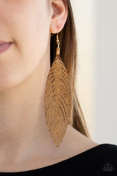 Paparazzi Feather Fantasy - Gold Metallic Earrings - A Finishing Touch