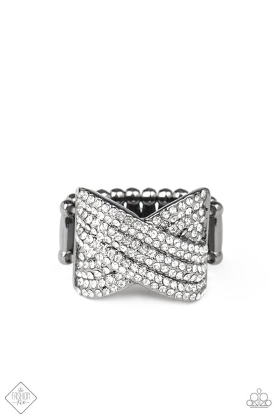 Paparazzi Girl Boss Glitter - Black Crisscross Ring - A Finishing Touch