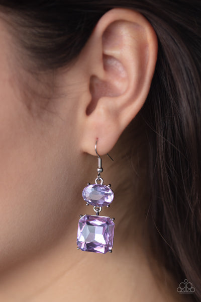 Paparazzi All ICE On Me - Purple Gem Earrings - A Finishing Touch