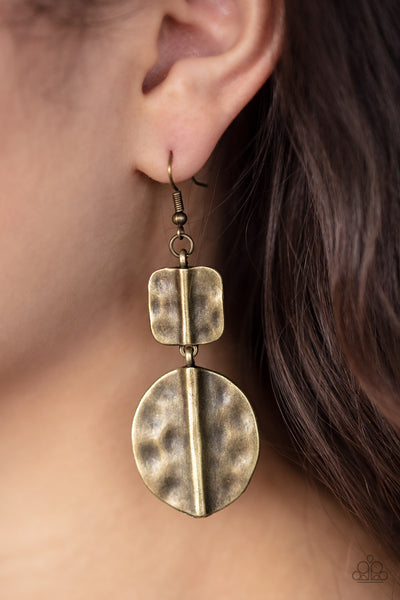 Paparazzi Lure Allure - Brass Antiqued Earrings - A Finishing Touch