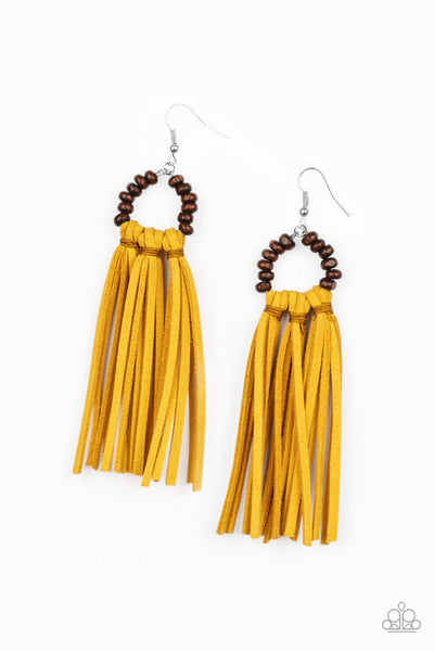Paparazzi Easy To PerSUEDE - Yellow Earrings - A Finishing Touch