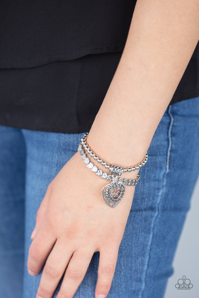 Paparazzi Think With Your Heart - Silver Bracelet - A Finishing Touch