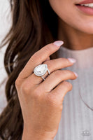Paparazzi BLINGing Down The House - White July's Fashion Fix Ring - A Finishing Touch