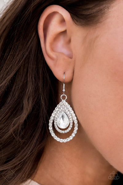 Paparazzi So The Story GLOWS - White July's Fashion Fix Earrings - A Finishing Touch