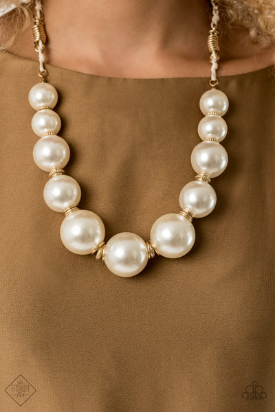 Paparazzi Pearly Prosperity - Gold Necklace - A Finishing Touch