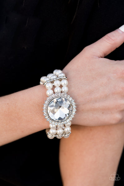 Paparazzi Speechless Sparkle - White Bracelet - A Finishing Touch