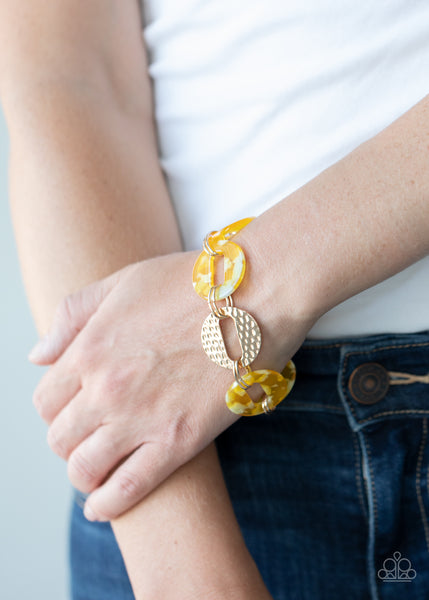 Paparazzi Retro Recharge - Yellow Acrylic Bracelet