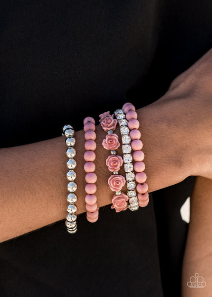 Paparazzi Rose Garden Grandeur - Pink Bracelet - A Finishing Touch