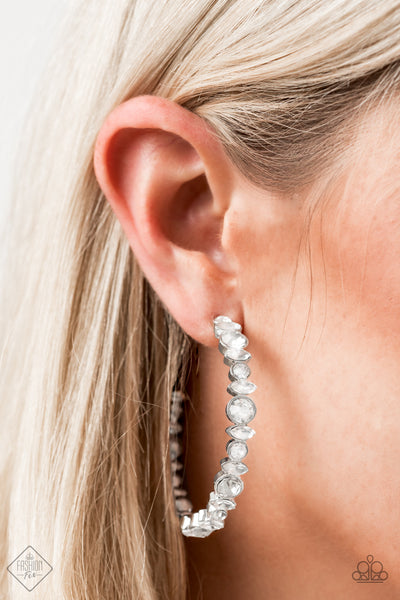 Paparazzi Can I Have Your Attention? - White Rhinestone Earrings - A Finishing Touch