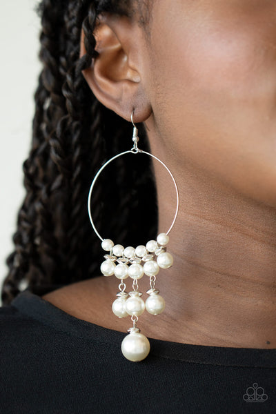 Paparazzi Working The Room - White Pearl Earrings - A Finishing Touch