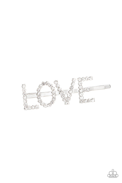 Paparazzi All You Need Is Love - White Rhinestone Bobby Pin - A Finishing Touch