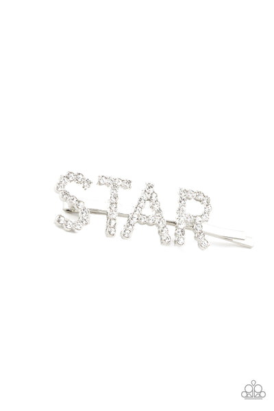 Paparazzi Star In Your Own Show - White Bobby Pin - A Finishing Touch