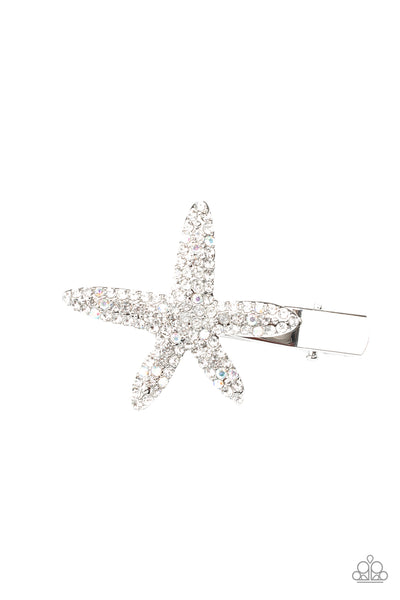 Paparazzi Wish On a STARFISH - White Hair Clip - A Finishing Touch