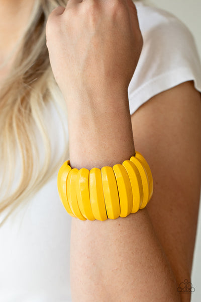 Paparazzi Colorfully Congo - Yellow Wooden Bracelet